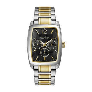 Caravelle NY Men's Two-tone Stainless Multifunction Rectangular Bracelet Watch