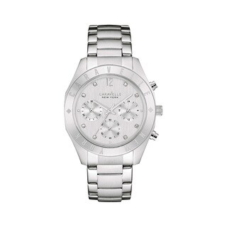 Caravelle Ny Women's 43l190 Stainless Chronograph Crystal Dial Accent Bracelet Watch