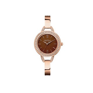 Caravelle NY Women's 44L134 Rose Gold-Tone Stainless Brown Dial Bracelet Watch