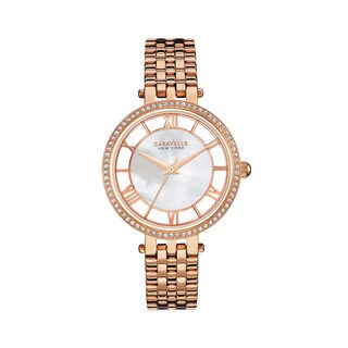 Caravelle NY Women's 44L171 Goldtone Stainless Crystal Bezel Open Dial Bracelet Watch