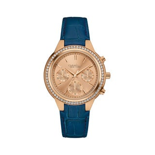 Caravelle NY Women's 44L183 Rosetone Stainless Chronograph Crystal Bezel Blue Leather Strap Watch