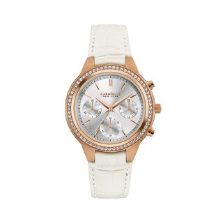 Caravelle NY Women's Goldtone Stainless Crystal Bezel Chronograph White Leather Strap Watch