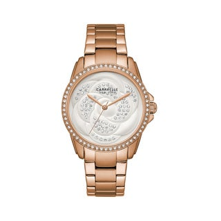 Caravelle NY Women's Rose Goldtone Stainless Crystal Flower Dial Bracelet Watch