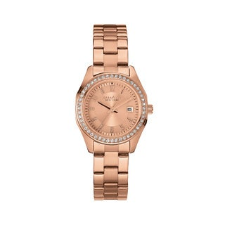 Caravelle NY Women's 44M103 Rose Goldtone Stainless Crystal Bezel Bracelet Watch
