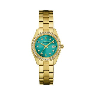 Caravelle NY Women's 44M109 Goldtone Stainless Crystal Sport Blue Dial Bracelet Watch