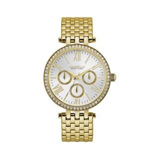 Caravelle NY Women's 44N109 Goldtone Stainless Crystal Bezel Multifunction Bracelet Watch