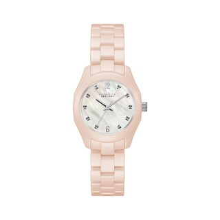 Caravelle NY Women's Pink Ceramic MOP Crystal Accent Bracelet Watch