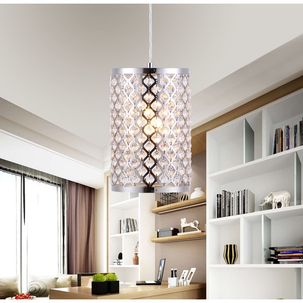 Kalyca 1 Light Chrome 6 Inch Crystal Pendant Lamp