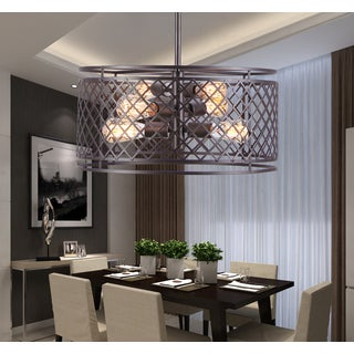 Keighley 6-light Iron 20-inch Black Rust Chandelier with Bulbs