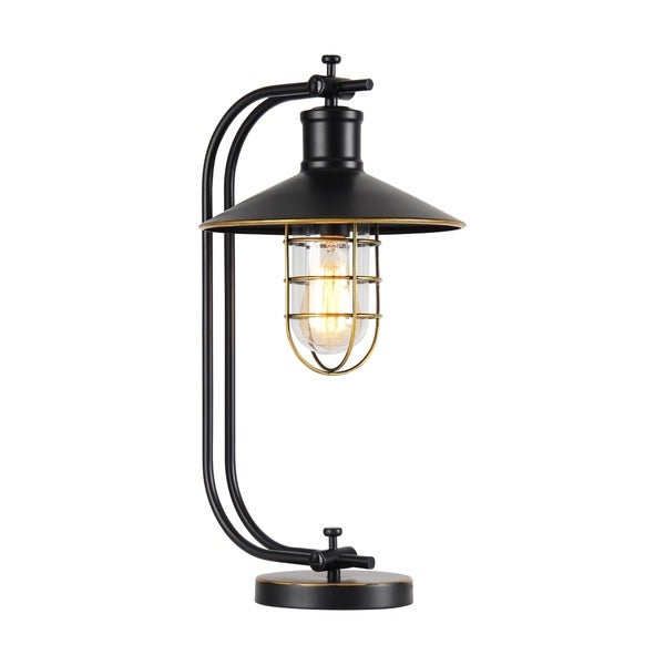 Kyriaki 1-light Black and Gold-tone 11-inch Table Lamp
