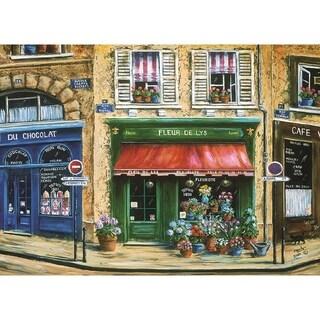 "Blissful Living Café Scene Fleur 4 Pack Rectangle Printed Placemats 18""x13"""
