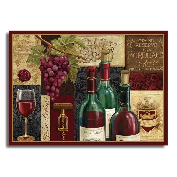 Blissful Living Red Wine Patchwork 4 Pack Rectangle Printed Placemats ...