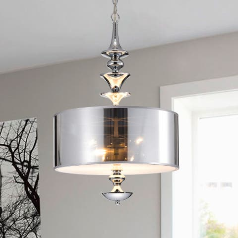 Yemisi 3-Light Chrome Glass 16-Inch Drum Pendant