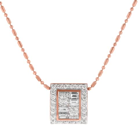 14k Rose Gold 5/8ct Diamond Square Necklace - White