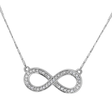 14K White Gold 1/5ct TW Infinity Diamond Necklace by Beverly Hills Charm