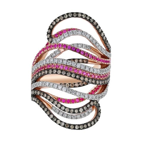 14k Rose Gold 1 1/5ct Multi Diamond and Pink Sapphire Open Wave Band Ring - White