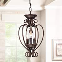 Tryoni Antique-bronze 3-light 10-inch Heart Cage Flush Mountable Pendant