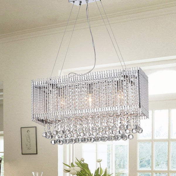 Warehouse of Tiffany Nodul Chrome Metal/Clear Crystal 24-inch 3-light Adjustable-height Chandelier