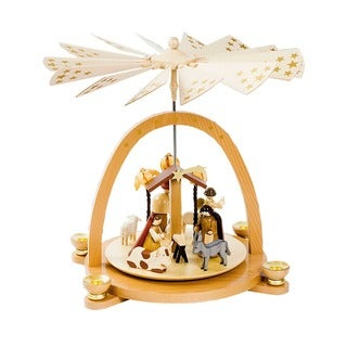 Alexander Taron Richard Glaesser Wood Nativity Scene Pyramid