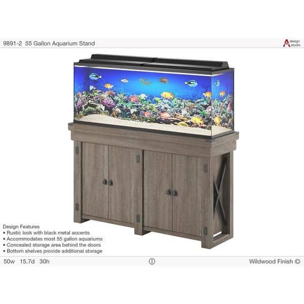 Shop Flipper Wildwood Rustic Grey 55 Gallon Aquarium Stand Overstock 19218366