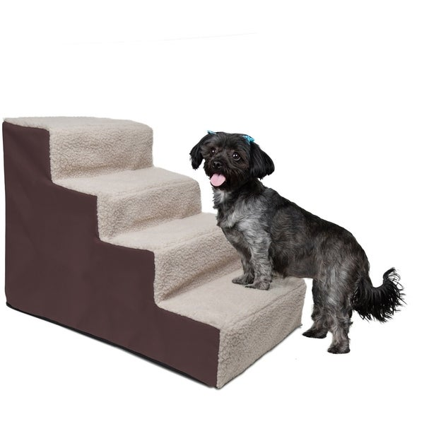 OxGord Dog and Cat Pet Stairs 4-step for Home or Portable for Travel