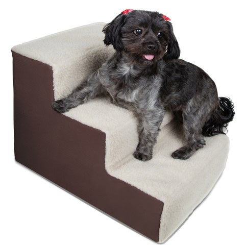 OxGord Dog and Cat Pet Stairs 3-step for Home or Portable for Travel