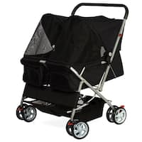 Paws & Pals Pet Twin Cat/Dog Foldable 4-Wheel Double Stroller