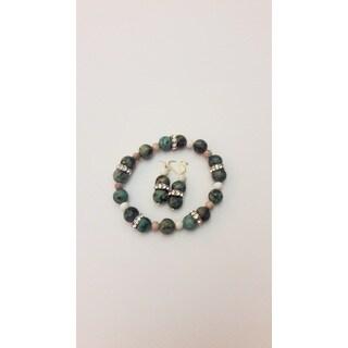 Mixed Gemstone Bracelet and Earring Set
