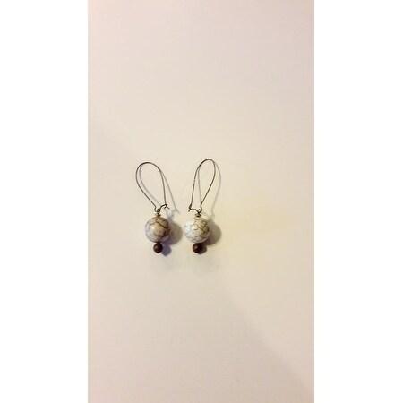 Magnesite Gemstone Earring set - Cream
