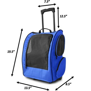 Paws & Pals Pet Carrier Dog Cat Rolling Back Pack Travel Crate Bag