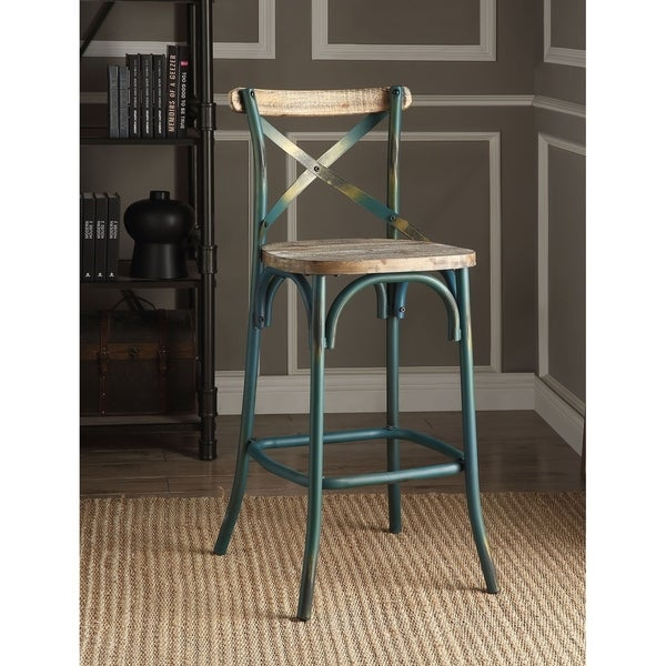 Shop Acme Zaire Bar Chair In Antique Turquoise Free