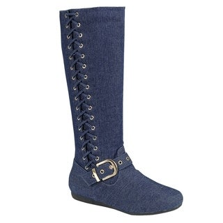 Forever FO98 Women Ankle Strap Buckle Flat Heel Under Knee High Boots