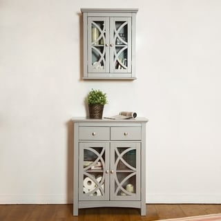 Glitzhome Wall Cabinet with Double Doors, Gray