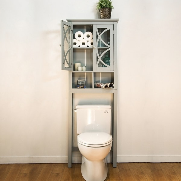 Glitzhome Bathroom Cabinet Spacesaver, Gray