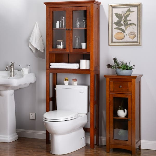 Shop Glitzhome Drop Door Bathroom Spacesaver Floor Storage Cabinet