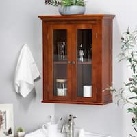 "Glitzhome 24""H Wall Storage Cabinet with Double Doors, Russet"