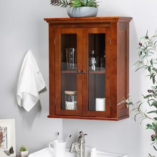 Glitzhome Wall Cabinet with Double Doors, Russet