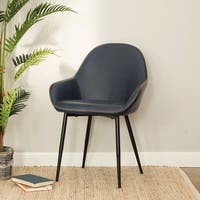Glitzhome Mid-Century Modern Vintage Gray Leatherette Dining Armchair(Set of 2)