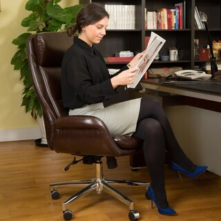 Glitzhome Mid-Century Modern Bonded Leather Adjustable Office Chair