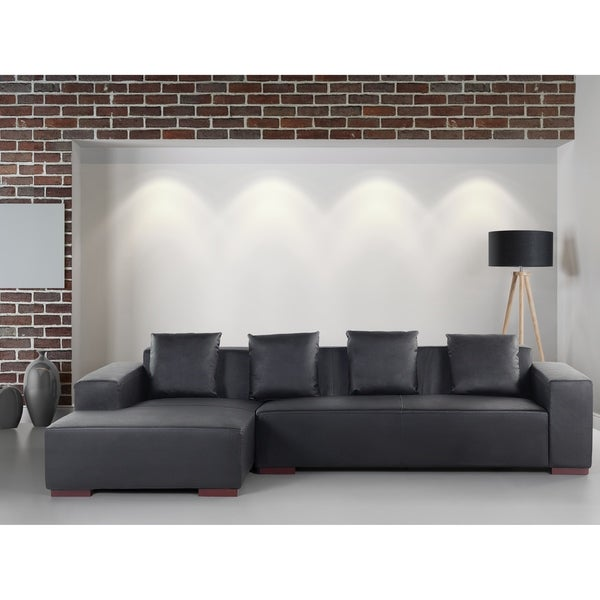 Shop Modern Sectional Sofa Black Leather LUNGO R - Free Shipping ...