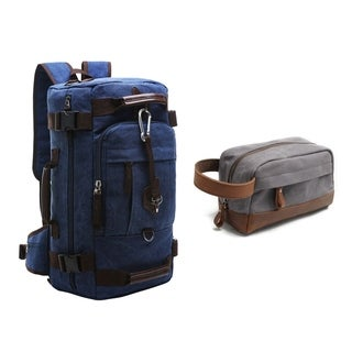 Travables Canvas Leather Rucksack x Waterproof Toiletry Bag