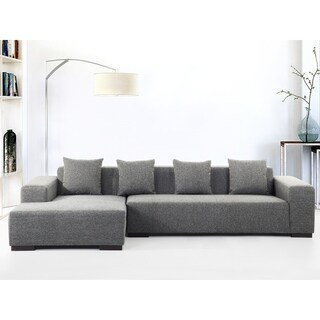 Modern Sectional Sofa - Dark Gray Fabric - LUNGO R
