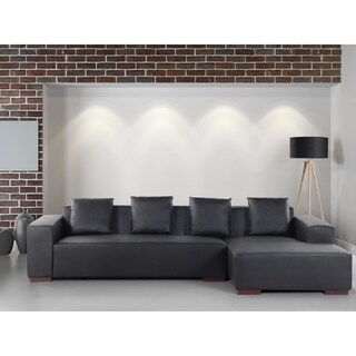 Modern Sectional Sofa Black Leather LUNGO L