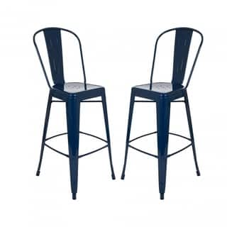 Shop Tabouret Bistro Wood Seat Navy Counter Stools Set Of