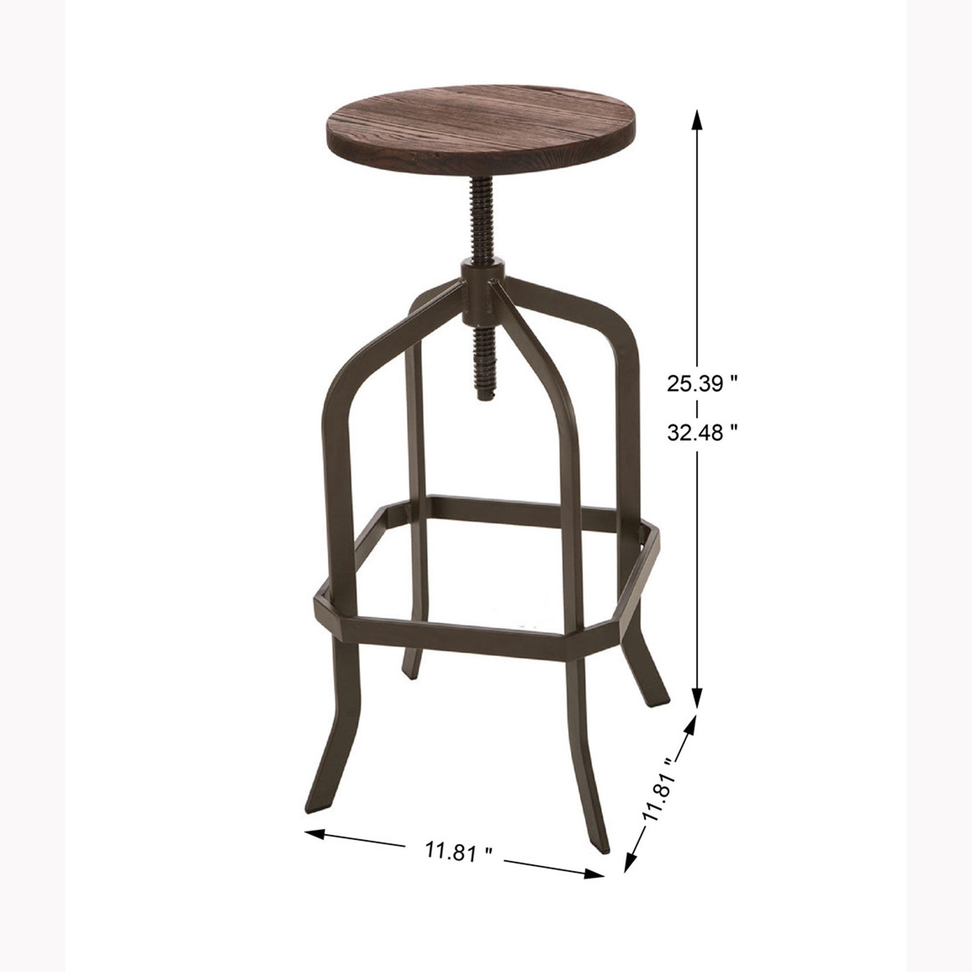 Stupendous Glitzhome Adjustable Metal Revolving Stool With Solid Wood Seat Squirreltailoven Fun Painted Chair Ideas Images Squirreltailovenorg