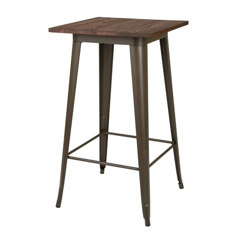 Carbon Loft Greenwood Farmhouse Metal Bar Table With Wood Top