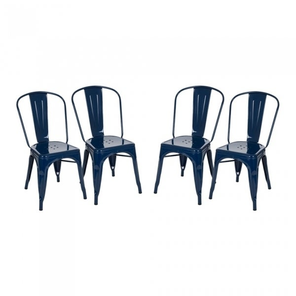 Glitzhome Navy Blue Metal Dining Chair(Set of 4) - Free Shipping ...