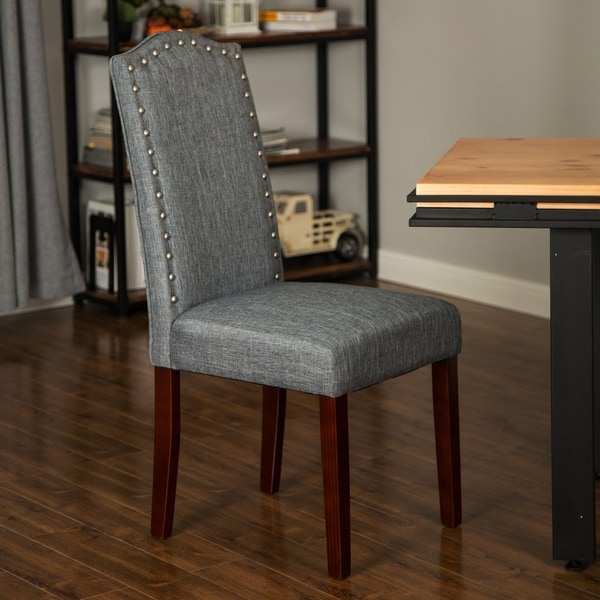 Shop Glitzhome Gray Upholstered Dining Chairset Of 2 24l X 18
