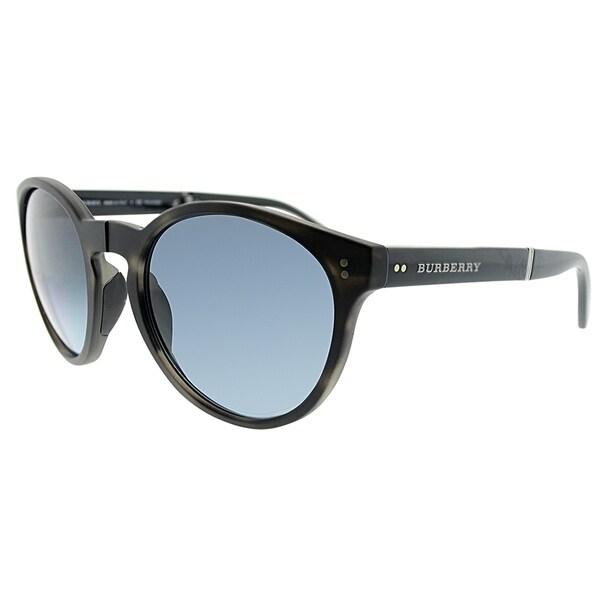 a4fd657771 Burberry Round BE 4221 3596K4 Unisex Matte Grey Havana Frame Blue Polarized  Lens Sunglasses