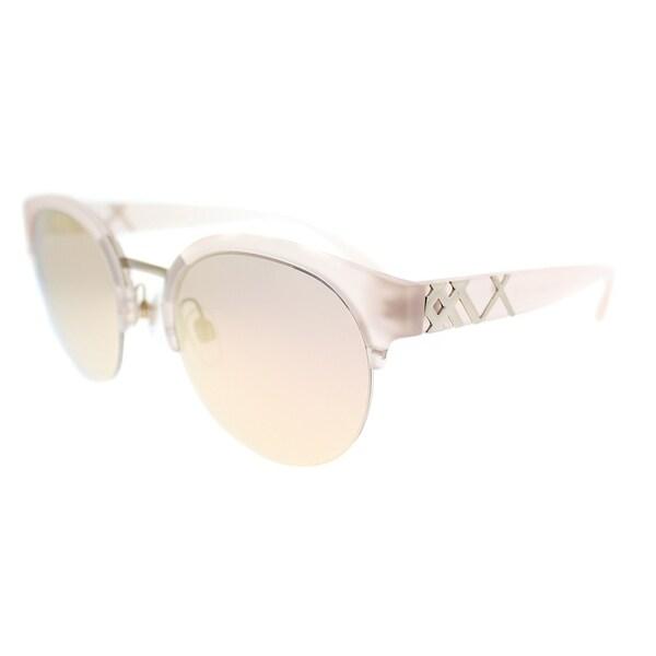2ecbdbd876e Burberry Round BE 4241 36427J Womens Matte Pink Gold Frame Rose Gold Mirror  Lens Sunglasses